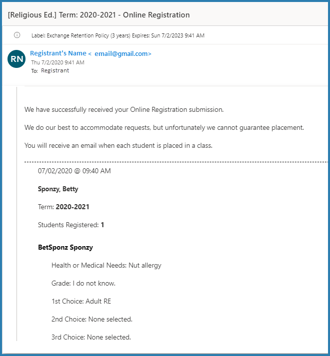 student receives email that registration was received
